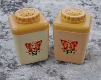 Vintage Plastic Salt and Pepper Shakers With Butterfly Design