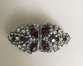 Vintage 1930s Rhinestone Duet Dress Clip and Brooch.