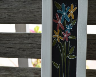 Colorful Flowers Wooden Sign