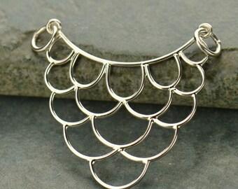 Sterling Silver, Scallop Festoon, Scallop Charm, Scallop Pendant, Scallop Jewelry, Silver Scallop, Scallop Necklace, Charm Link,Scallop Link