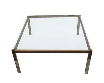 ON SALE Guy Lefevre Style Brass & Glass Coffee Table