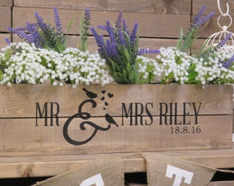 Personalised Rustic Wedding Wooden Table Centrepiece Wooden Wedding Crate Apple Crate Wedding Gift