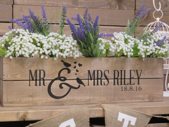 Personalised Wedding Table Gifts : Personalised Rustic Wedding Wooden Table Centrepiece Wooden Wedding ...