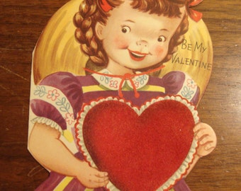 1950s USED Card, Valentine, no envelope, flocking, Ranch House Vintage
