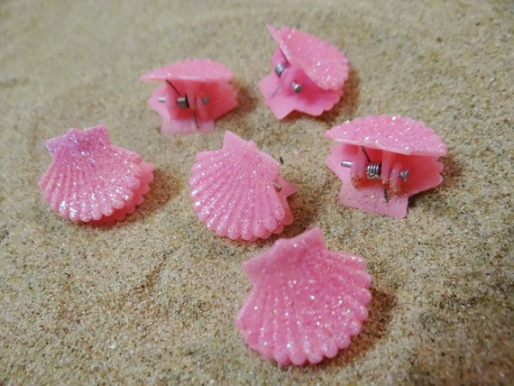 6 pc Pink Barbie Glitter Shell Seashell Clam Clamshell Hairclip Hair Clip Accessory Claw Mermaid Ariel Accessories Butterfly Clips
