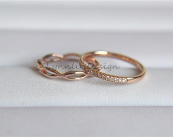 Two Wedding Band Set 14K Rose Gold Ring Set Gold Band Diamond Wedding Ring Stack Diamond Anniversary Ring Engagement Band Everyday Ring