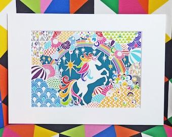 Rainbow Unicorn Mounted Papercut Giclee Art Print