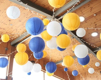 18-Pack Yellow Royal Blue White Round Paper Lantern Lampshade for Wedding Birthday Shower Party Decoration