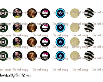 12mm digital collage sheet for scrap booking or glass cabochon jewelry making