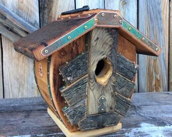 Unique Barnwood Birdhouse recycled reclaimed handmade birdhouse wedding gift  #1631