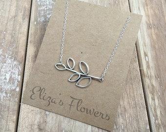 Silver Leaf Necklace, leaf charm necklace, delicate silver necklace.