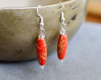 Hand-Painted Wooden Earrings, Rice Bead Earrings, Patterned Bead Earrings, Bohemian Earrings