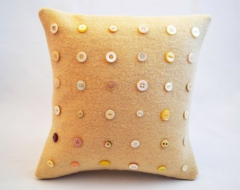 Cushion / Pillow Cover Vintage Blanket and Button - Cream and White