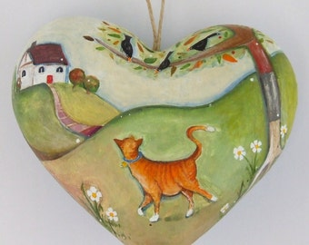 An Afternoon Stroll - Hand Illustrated Mache Heart