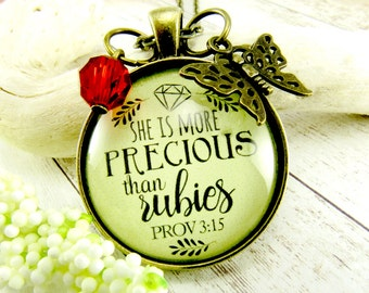 She is More Precious Than Rubies Christian Necklace Proverbs 3 15 Jewelry Gift Daughter from Father. Mom, Sister, Grandmother