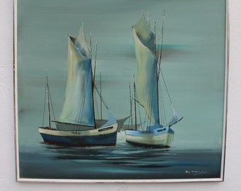 Boats In The Ocean Oil Painting By M. Monyo.