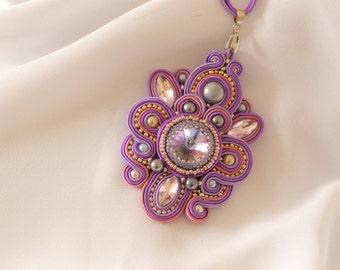 Purple lilac soutache pendant