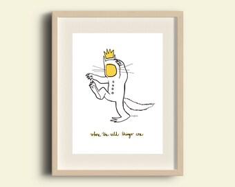 Ilustración 'Max' impresión digital para decorar tu hogar. 'Dónde viven los monstruos'. Dibujo de niño. Infantil. Decoración niños.