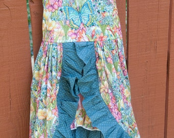 Sun dress - Pink and blue Butterfly & flowers (4T)