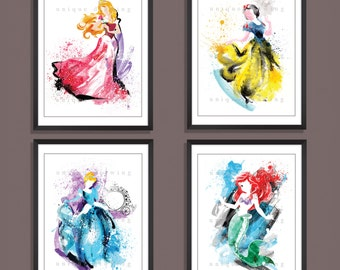 Disney movie poster, Disney princess print, Snow White, Ariel, Cinderella, Princess Aurora, Kids Decor, Nursery Decor, Set of 4 prints, 3528