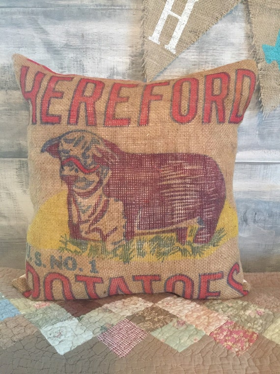Burlap Throw Pillows Etsy : Burlap sack Hereford throw Pillow