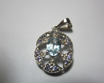 blue topaz and tanzanite pandent, sterling silver GOOD LOOKING