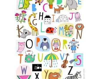 Alphabet-Nursery Decor-Cute Print-Animal Print-Kids Bedroom-Playroom-Colourful Print-Fun Print-Illustration Print (8 X 10 in)