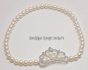 Diamonds and pearls headband for baby. Rhinestone crown with pearl headband. Newborn Photography prop. Gifts for baby. Christening. Wedding.
