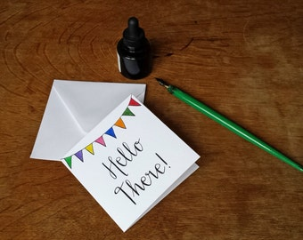Hand Lettering Hello There! bunting greetings card