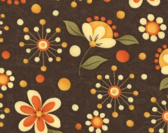 Grand Finale by Sandy Gervais (17592 13) Dark Brown w/Flowers Quilting Fabric by 1 Yard Increments