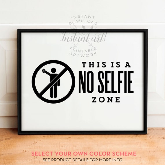 Funny bathroom wall art printableno selfie zonebathroom - Funny bathroom wall decor ...