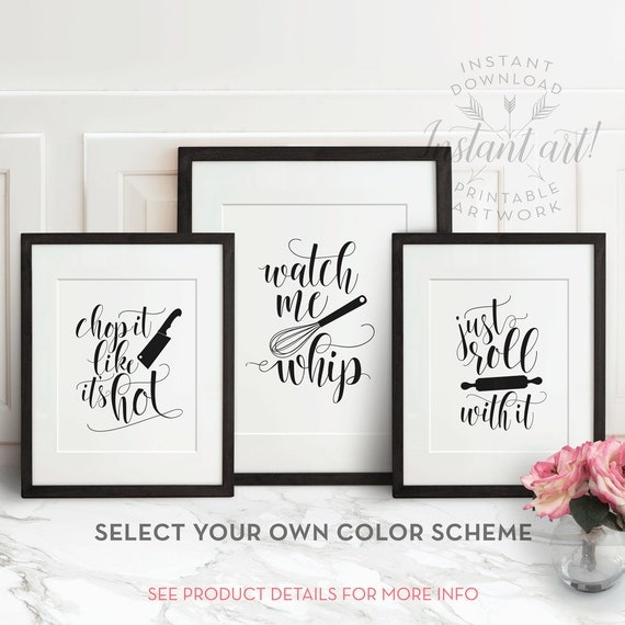 Kitchen wall art printable art funny kitchen art by for Bathroom design quotes