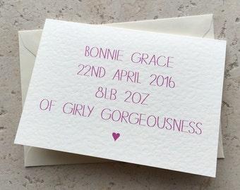 Handmade personalised birth card baby girl