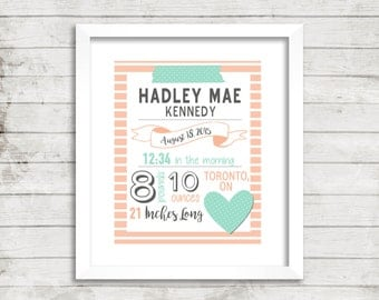 Birth Stats Nursery Art, Birth Announcement Wall Art, Printable Birth Stats Wall Art, baby girl birth stats