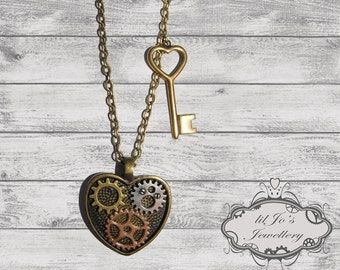 Steampunk Key to my Heart Pendant - valentines day, gift for her, girlfriend, steampunk accessory, romantic, cosplay.