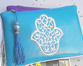 BAG POUCH leather purse turquoise Moroccan crafts BAG leather
