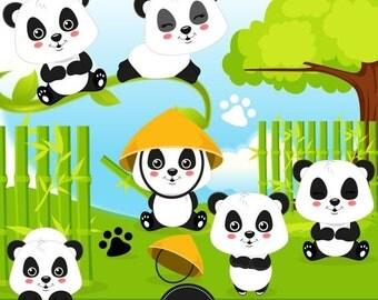 80% OFF SALE Panda bear clipart, Panda digital image, Panda party, Panda commercial use - CA415