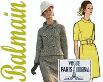 1960s Mod Dress and Jacket Pattern VOGUE Paris Original 1920  bust 34 LABEL Designer Dress Balmain Double Breasted Mod Jacket Belted Dress