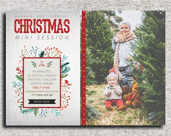 Christmas Mini Session Template - Christmas Photography Marketing -  Mini Session Template - Card - Photoshop Template - INSTANT DOWNLOAD