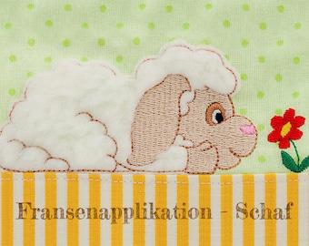 Machine embroidery applique sheep Fransenapplikation