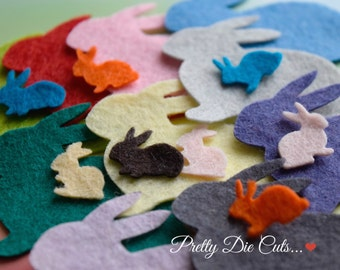 Felt Bunny Rabbits and Baby Bunnies, Rabbit Die Cuts, Animal Shapes, Felt Pets, Mixed Colours, Felt Die Cuts, Die Cut Craft Embellishment