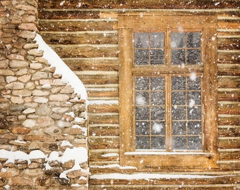 Brown Wall Art, Black and White Rustic Decor, Log Cabin, Winter, Snow, Brown, Rustic Decor, Art for Study, Cottage Decor, Rural, Rustic