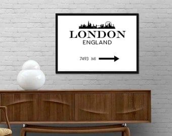 London England Skyline Print London Custom Distance Mark Poster Modern wall art Minimalist design decor Best price Just add your distance