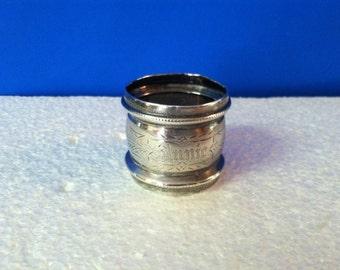 Vintage Silverplate Napkin Ring Monogrammed Annie