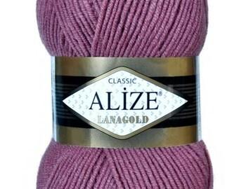 LANAGOLD Alize 100 gr.- 240 m. knitting crochet Soft yarn , Wool Yarn, Wool mixture