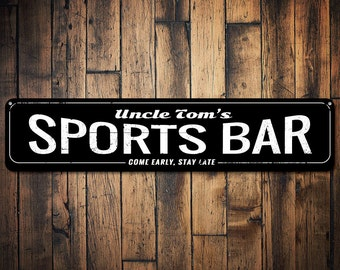 Sports Bar Sign, Personalized Bar Name Sign, Come Early Stay Late Sign, Custom Beer Sign, Metal Bar Decor - Quality Aluminum ENS1001259