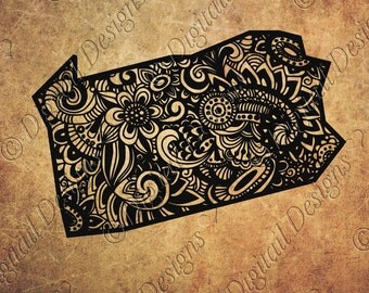 Pennsylvania State SVG Doodle Art Decal Zentangle Png, Dxf, Eps Cut File for Silhouette Cricut SCAL