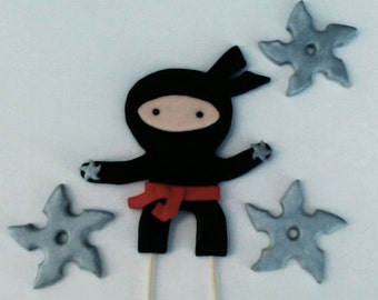Ninja Fondant Cake Topper with Ninja Throwing Silver Stars  - Ninja Birthday Cake Decor