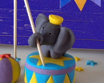 Fondant Circus - Carnival Elephant Cake Topper, Colourful Circus - Carnival Cake Decor Elephant on a stool and  Flag Age Topper