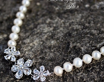 Necklace with natural pearls and zircones Flovers with Pearls
